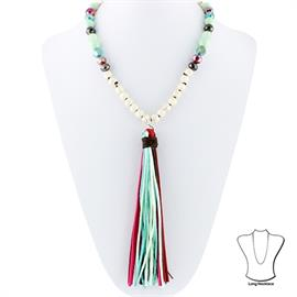 "Knotted Necklace with Tassel and Glass Crystal Necklace is 28"" Tassel is approximately 6.5"" in height"