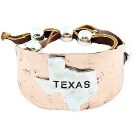 "Texas State Map Adjustable Bracelet Bracelet is approximately 1.75"" in height"