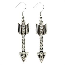 "Follow Your Arrow Earrings with Crystal Also available in copper Earrings are 2.25"" in height"