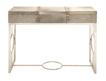 "Redefined Ranch House.  This hair-on-hide console table buckles up and doubles as a chic storage unit. Stainless steel legs featuring a distinctive ""O"" ring design add contrast and sophistication. 48""wide, 34""high"