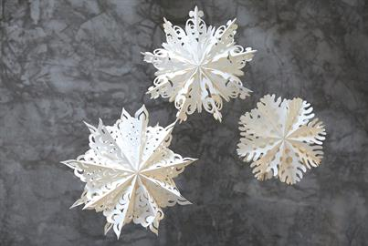 "Paper ornaments and lanterns cut in unique and detailed snowflake designs. Hang them in groupings for large impact displays. Available in 7 styles ranging in size from 4"" to 23"""