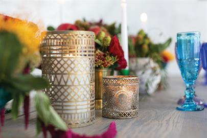 Beautiful, gold votive holders with ornate Moroccan details. Available in 2 sizes