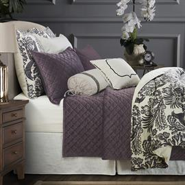 Our black and white toile pattern duvet coordinates beautifully with velvet quilt, shams and decorative pillows.