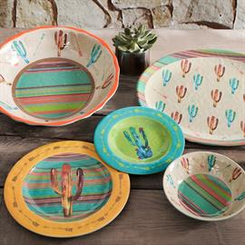 This Cactus Design Melamine Dinnerware will add a flair of the Southwest to your table top. Vibrant colors will quickly make this set a fun favorite. Built to last melamine is perfect for outdoor barbecues, family gatherings and durable enough for daily use. Made of melamine.