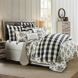 Camille 3 Piece Comforter Set features a black & white buffalo check design and available in King, Queen and Full with 1 comforter & 2 shams.  2 Piece Twin set available in comforter and 1 sham.  Layer the bed with the Lyla floral 3 piece reversible quilt set for that modern farmhouse look.