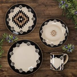 This beautiful Chalet dinnerware set features Aztec earth tone colors.  Sixteen piece dinner set includes 4 dinner plates, 4 salad plates, 4 bowls and 4 cups. Dishwasher and microwave safe.