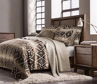 The Chalet Aztec Comforter Set gracefully inspired by beautiful earthen tones will give your bedroom a luxuriously relaxed feel. 3-piece Full, Queen or King comforter set includes: (1) comforter and (2) shams.