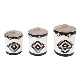 Modern yet rustic, this Chalet canister set will perfectly complement a southwestern styled home. Each one features a striking geometric pattern in warm earth tones. The lids sit inside of the canister for a secure fit and a silicone gasket helps keep food fresher.