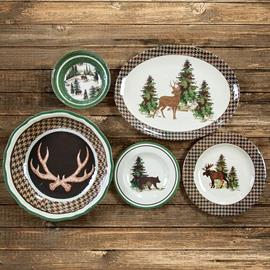The timeless Joshua design offers an outdoorsy yet sophisticated appeal. With its nature motifs of flora and fauna alike, the handsome hounds tooth accents compliment the woodsman aesthetic. The green really pops against the warm undertones in this lodge dinnerware set. The Joshua melamine dinner is a perfect complement for anyone's lodge or cabin.