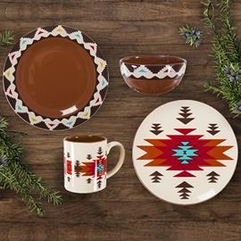Gorgeous jewel tones enhance the Aztec inspired designs to create this stunning dinnerware set.  Sixteen piece dinner set includes 4 dinner plates, 4 salad plates, 4 bowls and 4 cups. Dishwasher and microwave safe.