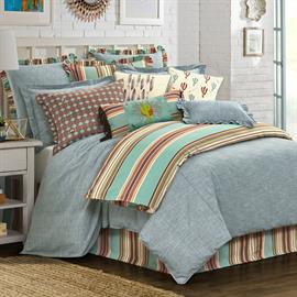 The gorgeous pale blue Chambray comforter set will give your bedroom a serene and relaxing feel. This comforter set works beautifully alone or add accessory pieces to create your own unique look.  3 piece Full, Queen or King set includes comforter and (2) pillow shams.