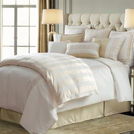 Inspired by glamorous Hollywood, this 4-piece comforter set will add an elegant flair to your bedroom. A soft classic chevron pattern is paired perfectly with striking embroidery. 4-piece set includes oversized comforter, two shams and bedskirt.