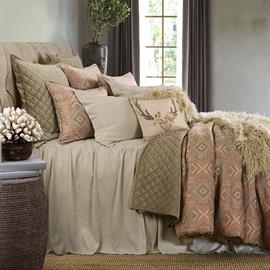 "Add the essence of relaxed tranquility to your bedroom with the Luna Bedspread Set. The airy linen-blend bedspread is lined for added luxury. Gathered bedspread features 33"" drop. The Sedona comforter, decorative pillows, velvet quilt and Mongolian fur throw add finishing touches to the ensemble."