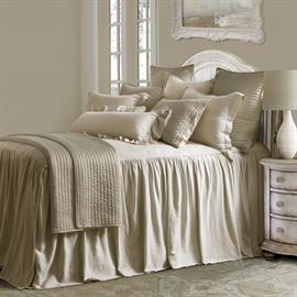 "Add the essence of relaxed tranquility to your bedroom with the Luna Bedspread Set. The airy linen-blend bedspread is lined for added luxury. Gathered bedspread features 33"" drop."