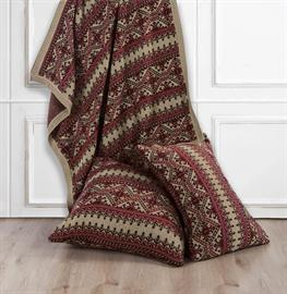 "This beautiful classic knit pattern will perfectly accent your home.  In hues of tan, rustic red and chocolate brown this throw complements many décor styles.  The Lodge Fair Isle Knit Throw measures 50""x60"". The Lodge Fair Isle Knit Body Pillow measures 21""x35"" and Euro Sham measures 26""x26""."