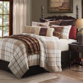 The neutral earth-tones of the Wilson Comforter Set will add tranquility to your bedroom. Hues of chocolate brown, tan, khaki and soft white blend perfectly to create this opulent oversized tartan plaid.