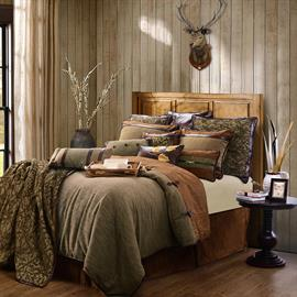 HiEnd Accents introduces a sophisticated twist on rustic bedding with the introduction of Highland Lodge. Embracing earth tones and natural colors, plus several textures with soft suede, dark leather and adorned  with equestrian buckles makes this bedding stand apart. Touched with chic branch patterns help to bring the beautiful outdoors into the bedroom.