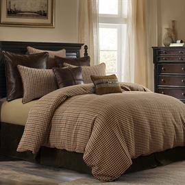 The warm tones of this handsome tweed will add an element of sophistication to the space, aiding in a refined style while also remaining cozy and comfortable. This 3 piece set features a warm comforter and two pillow shams in Full, Queen and King.  Twin has one sham.