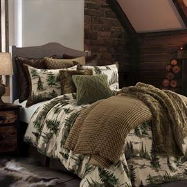 Relax in your mountain cabin with this cozy and versatile comforter set designed with the outdoors in mind. Beautiful pine trees and mountain scenery in green, brown and cream colors will remind you of nature. Full, Queen and King set includes comforter and 2 pillow shams (Twin size includes 1 sham). Accessorize your bed with faux leather Euro shams, tweed duvet cover, faux fur pillows and throw (sold separately).