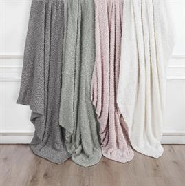 "Wrap yourself in luxury with this gray Pebble Creek throw. Super soft construction will make this your favorite throw. Also available in cream, blush, seafoam and white. Measures 50"" x 60""."