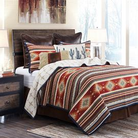This Southwestern pattern quilt set will add vibrant colors to your bedroom.  Quilt is reversible and machine washable.