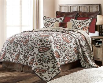 The beautiful Rebecca Quilt Set will bring a western feel into your home.  Gorgeous paisley print in hues of terra cotta, turquoise and chocolate brown really make this quilt set pop.  Full/Queen and King 3 piece quilt set includes a quilt and 2 standard shams.
