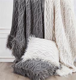 "Wrap yourself in luxury with this gorgeous oversized Nordic Throw. This throw combines elements of a classic diamond pattern cable knit and a super soft faux Mongolian fur. Oversized construction makes this throw perfect to add to the foot of your bed or on the back of your sofa. Throw measures 50""x80"".  Pillow is 18""x18""."