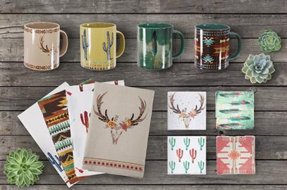 "Accent your table with our new tea towels, mugs and coaster sets.  Available in a variety of southwest and rustic patterns.  Tea Towel measures 28""x28"", Coaster 4""x4"", and Mug is 20 oz."