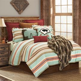 Bright and colorful, the Serape collections features stripes in turquoise, burgundy, sunset orange and chocolate. This coordinates with chocolate suede or faux leather accessories sold separately. 3 piece king set includes comforter and (2) king pillow shams.