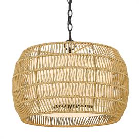 The epitome of understated elegance, the Everly collection showcases rustic, natural beauty. The series takes inspiration from the airiness of bohemian decor. Handwoven, the braided rattan rope protectively shields an inner Modern White Shade. The interior shade diffuses the bright lamps, and the outer rattan shade has a playful, intricate pattern.
