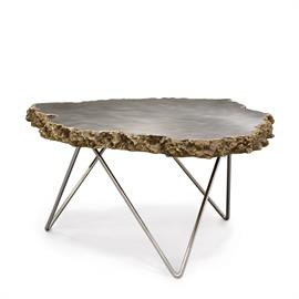 Stonecast lava rock top edge with brushed stainless steel top and polished stainless steel legs. Table nests with the smaller version of this design (6366-79).