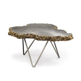 Stonecast lava rock top edge with brushed stainless steel top and polished stainless steel legs. Table nests with the smaller version of this design (6365-79).