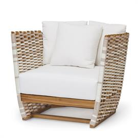 Teak wood frame and legs in natural golden brown finish. Hand-woven synthetic rope details in taupe and white with maximum UV protection. Comes with loose seat and three loose back cushions. Coordinates with the San Martin collection. Weathering and color variation over time is natural for wood outdoor furniture. When exposed to the elements, the color of teak will develop into a grayish patina.