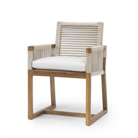 Teak wood frame and legs in natural golden brown finish. Double wall back and arms in taupe colored woven synthetic rope with maximum UV protection.Weathering and color variation over time is natural for wood outdoor furniture. When exposed to the elements, the color of teak will develop into a grayish patina.