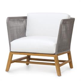 Teak wood frame and legs in natural golden brown finish. Double wall back with woven synthetic rope in grey with maximum UV protection. With loose seat and back cushions. Weathering and color variation over time is natural for wood outdoor furniture. When exposed to the elements, the color of teak will develop into a grayish patina.