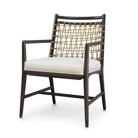 Kirk Nix collection. Plantation hardwood frame and legs in a dark espresso finish featuring natural jute rope detail. Fixed upholstered seat. Coordinates with the Pratt collection.