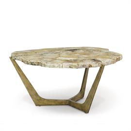 Wrought iron base in key gold finish with hand-cut inlaid petrified wood top. Each piece will vary in size, shape, and color.
