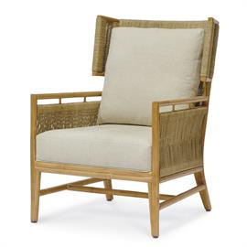 Natural rattan frame and legs feature natural abaca fibers intricately wrapped around inside and outside back and sides. With fixed upholstered seat and loose back cushion.