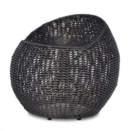 Powder-coated metal frame is intricately hand-woven with black high quality all-weather synthetic wicker and peel. 360 swivel stool. Available only as shown.