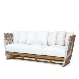 Teak frame and legs in natural golden brown finish. Hand-woven synthetic rope details in taupe and white with maximum UV protection. Comes with loose seat and back cushions. Coordinates with the San Martin Outdoor Collection. All outdoor furniture comes with outdoor cushions unless specified with a COM form. Weathering and color variation over time is natural for wood outdoor furniture. When exposed to the elements.