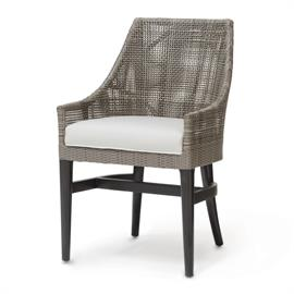 Hardwood frame and legs in black brown finish. Double wall back features woven synthetic rattan peel in mocha finish. With fixed upholstered seat.