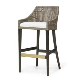 Hardwood frame and legs in black brown finish. Double wall back features woven synthetic rattan peel in mocha finish. Accented with an antique brass metal footrest on front stretcher. With fixed upholstered seat.