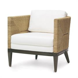 Hardwood frame and legs finished in dark espresso. Double wall back and sides with woven natural seagrass rope in multiple directions creating a unique pattern. With fixed upholstered seat and loose back cushion.