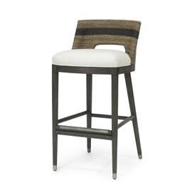 Kirk Nix Collection. Hardwood frame and legs finished in grey. Double wall back features hand-twisted lampakanai rope in a grey finish with black stripe detail. Accented with pewter foot caps and footrest on front stretcher. Fixed upholstered seat. Coordinates with the Fritz Rope collection.