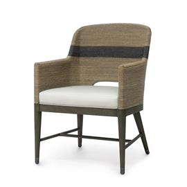 Kirk Nix Collection. Hardwood frame and legs finished in grey with pewter foot caps. Double wall back and sides feature hand-twisted lampakanai rope in a grey finish with black stripe detail. Fixed upholstered seat. Coordinates with the Fritz Rope collection.