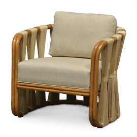 Large gauge double pole rattan frame and legs in natural finish. Inside and outside back features bundled natural abaca rope fibers accented with leather bindings. With fixed upholstered seat and loose back cushion.