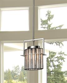 Ultra sleek, cool and contemporary, our Hammond mini pendant will be a reflection of your good taste and style in any room of your home or office. Hammond features an oval shade handcrafted of alternating panels of mixed light amber and frosted clear glass, which are separated by bold filigree. The pendant hangs from a lustrous metal canopy and support tube from which a matching square bracket supports a rectangular plate that encases the shade for added visual interest. Hammond's modern styling is built