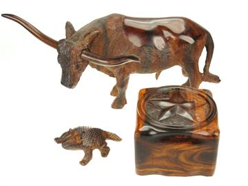 Handcarved Ironwood figures and boxes