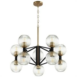 10-Light Pictured in Noir and Aged Brass, also available in 12-light and 2-light sconce, Aged Brass finish also available
