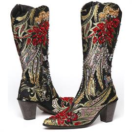 Helens Heart Brown and Black Tall Brocade Tapestry Boots